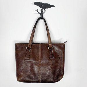 Fossil Vintage Dark Brown Leather Satchel